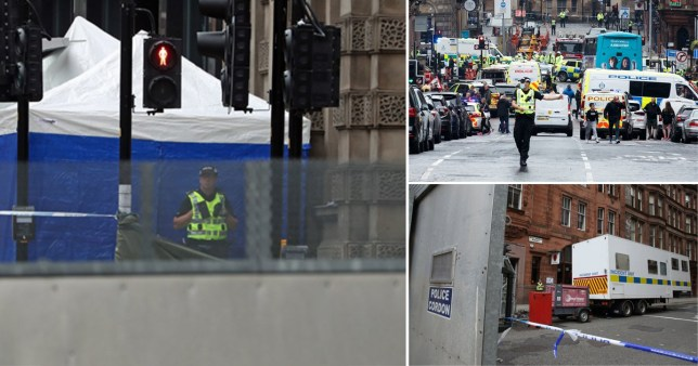 Composite image of emergency service response to Glasgow stabbing