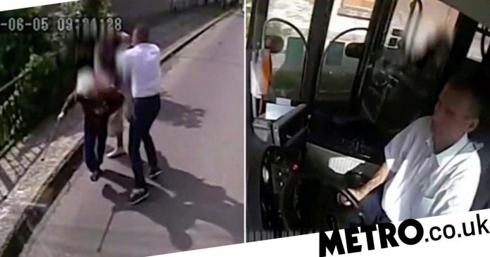 Hero bus driver pulls over to fight mugger attacking elderly woman