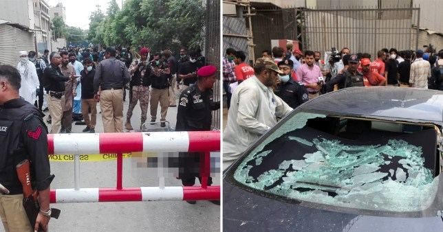 Police survey the site of the attack at the Pakistan Stock Exchange entrance in Karachi