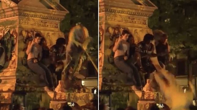 Grabs of protesters at monument where falling statue injured activist