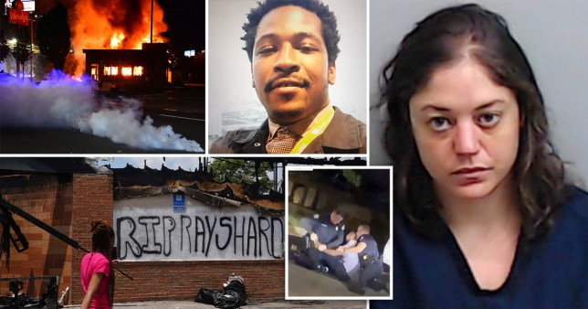 Rayshard Brooks, his girlfriend Natalie White and, footage of Brooks' arrest outside a Wendy's in Atlanta and pictures of protesters burning the restaurant down following his death.