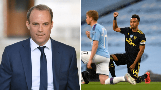 dominic raab next to a picture of Arsenal's Pierre-Emerick Aubameyang (far right) takes a knee in support of the Black Lives Matter movement