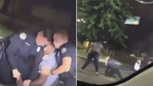 Grabs of man struggling with cops before he was fatally shot