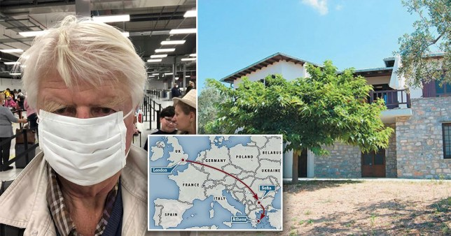 A picture shared on Instagram by Stanley Johnson wearing a face mask at an airport, a view of Stanley Johnson's villa in Pelion, Greece and a map showing his flight from London to the Bulgarian capital Sofia and then onto Athens, Greece