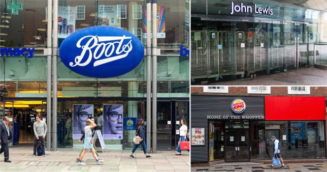 A split picture showing a Boots, John Lewis and Burger king store front.