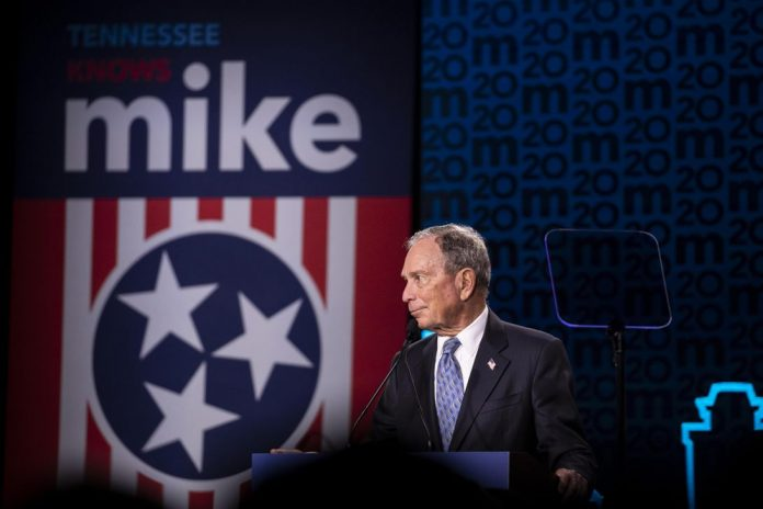 Mike Bloomberg at a campaign rally