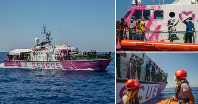 Photos of the Louise Michel, a former French navy boat funded by Banksy to rescue refugees trying to make it from North Africa to Europe