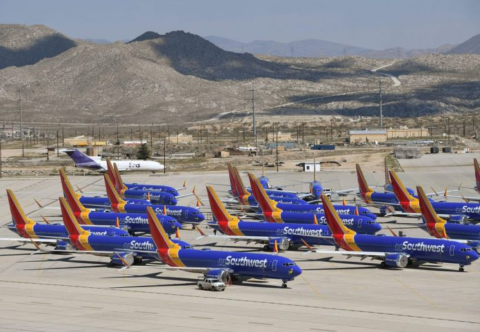 Southwest Airlines Boeing 737 Max planes on the tarmac