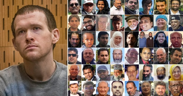 Christchurch mosque shooter Brenton Tarrant in court (left) who has been sentenced to life with no parole over the massacre and the 51 people he murdered (right)