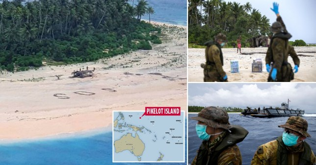 SOS on beach saved sailors stranded on tiny pacific island pics: Reuters/ADF