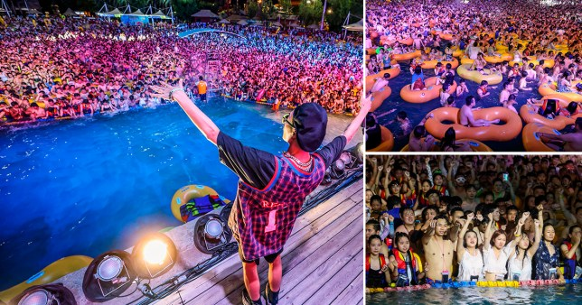 Picture shows partygoers at a pool party in Wuhan, China