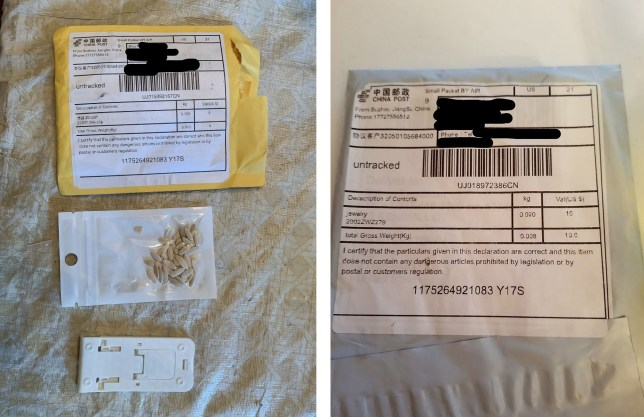 Comp of packages of seeds from China