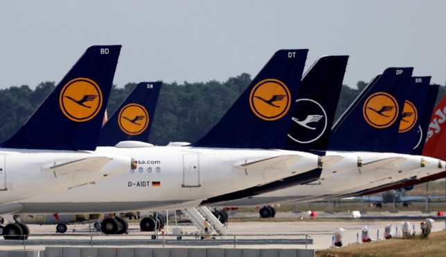 Airplanes of German carrier Lufthansa are parked at the Berlin Schoenefeld airport, amid the spread of the coronavirus disease (COVID-19) outbreak in Schoenefeld, Germany, June 25, 2020.