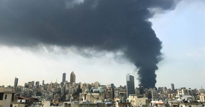 Raging fire breaks out in Beirut port a month after huge explosion
