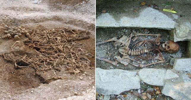 Composite image viking skeleton