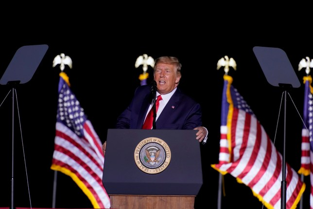 President Donald Trump speaks at a rally at Minden-Tahoe Airport in Minden, Nevada, on Saturday, September 12, 2020.