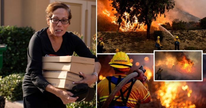 Wildfires in California have forced evacuation orders for 100,000 people.