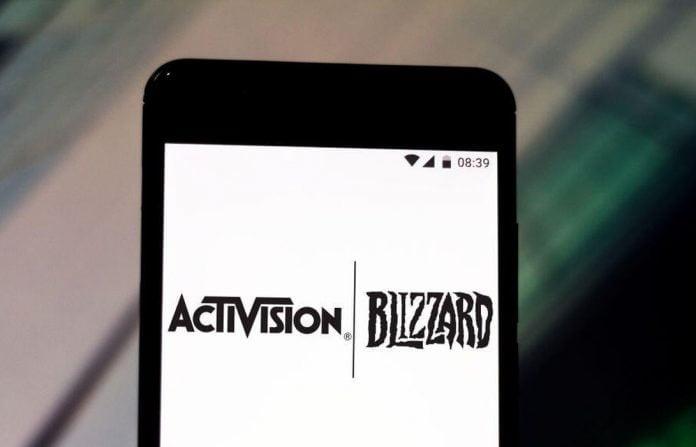 Activision Blizzard logos on a phone screen