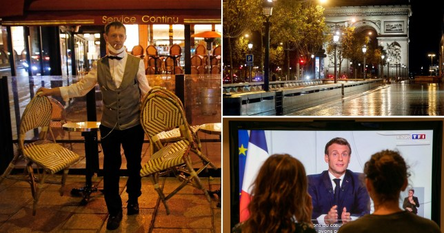 Composite image scenes from Paris as second French lockdown announced