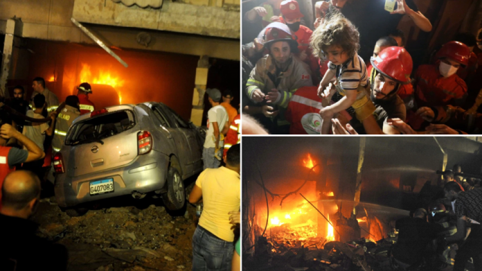 Three pictures of a diesel tank explosion in a bakery in Beirut, Lebanon on October 9, 2020