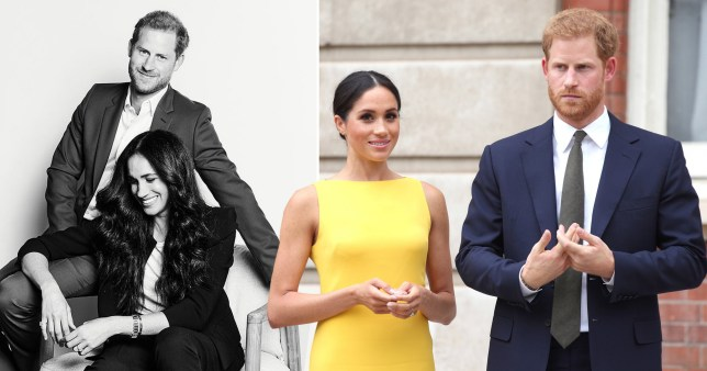 Meghan Markle wears a yellow dress and Prince Harry wears blue suits
