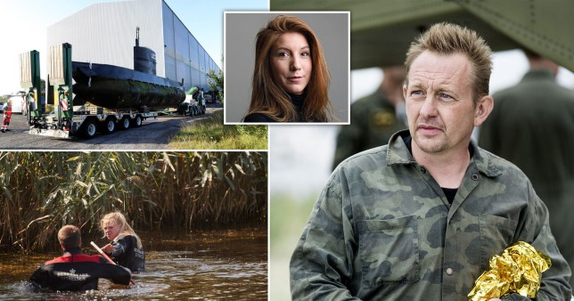 Pictures of murderer Peter Madsen, journalist of Kim Wall, Madsen's submarine and people searching in water