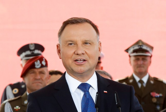 Newly sworn-in Polish President Andrzej Duda speaks during the ceremony of accepting the sovereignty over the Armed Forces for the second five-year term, in Warsaw, Poland, August 6, 2020.