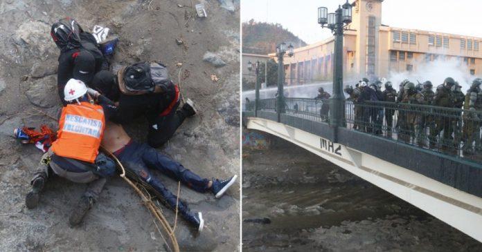 Police throw boy, 16, off a bridge