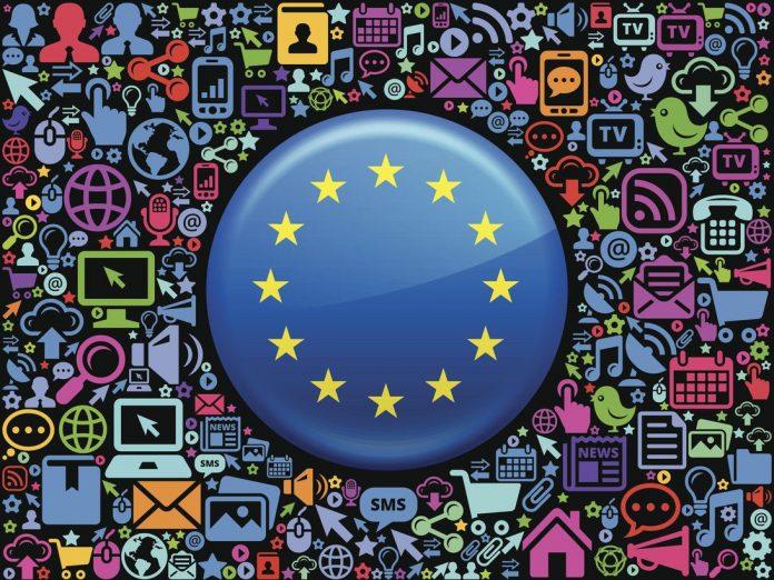 European Union Flag on Modern Technology & Communication
