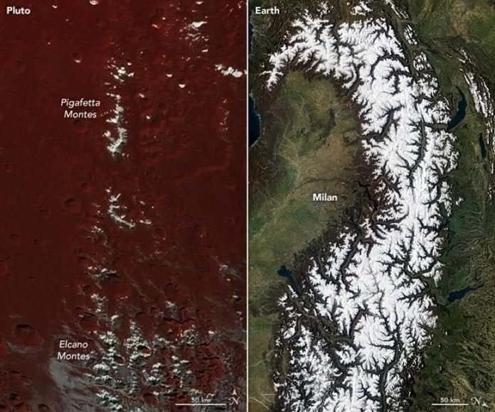 Icy Peaks Pluto Earth