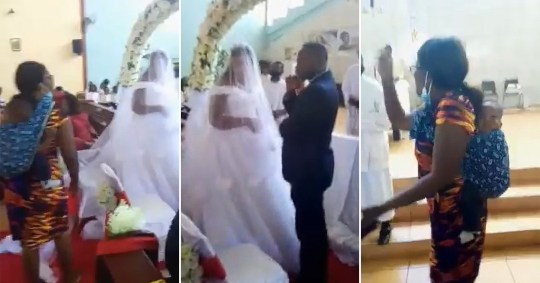 Screenshots from the dramatic footage from the wedding