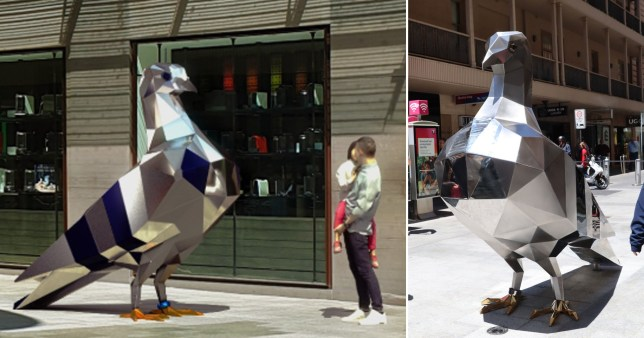 'Abhorrent' pigeon sculpture costing thousands put up outside shopping centre