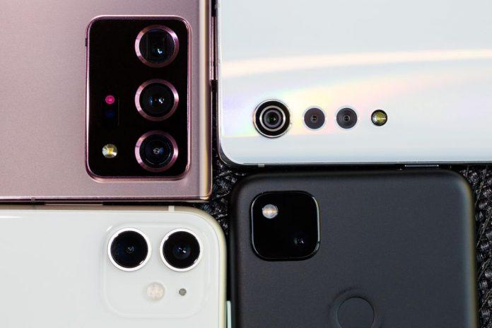 Camera setups on four phones