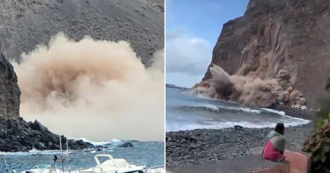 Beach goers looked on in horror as the cliff collapsed