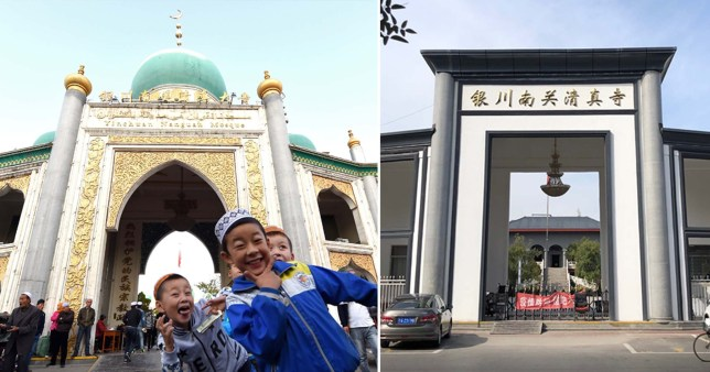 The Nanguan Mosque in Yinchuan City after recent renovations removed the dome and minarets