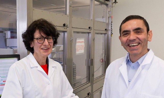 Pictured - Husband and wife team Prof Ugur Sahin (RIGHT ) and Dr Ozlem Tuereci From humble roots as the son of a Turkish immigrant working at a Ford factory in Cologne, BioNTech Chief Executive Ugur Sahin, 55, now figures among the 100 richest Germans, together with his wife and fellow board member Ozlem Tuereci, 53