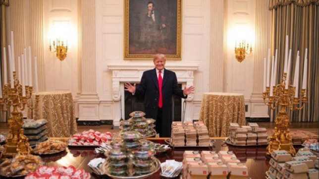 White House staff light scented candles 'because Trump is eating so much fast-food' getty images taken from this article: https://metro.co.uk/2019/01/15/donald-trump-brags-serving-mcdonalds-hamberders-white-house-8347775/
