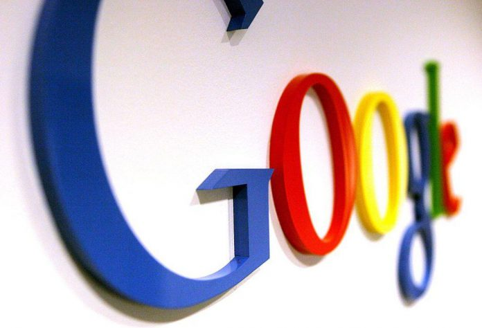 The Google logo on a wall at the company's Australian headquarters in Sydney, 16