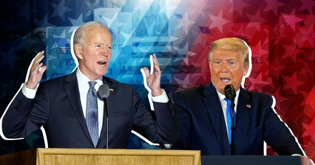 Donald Trump and Joe Biden comp