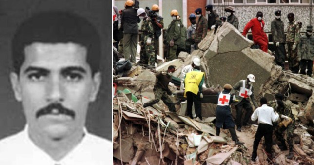 Abu Muhammad al-Masri next to an image of the wreckage of the US embassy bomb blast in August 1998