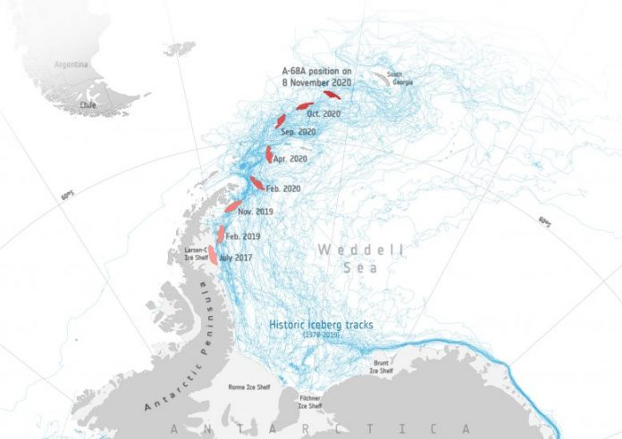 Iceberg on Collision Course With South Georgia