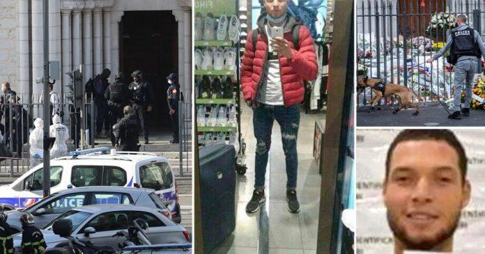 Brahim Aouissaoui, 21, selfie in shop