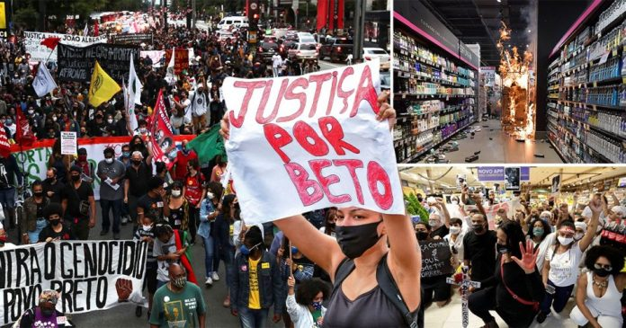 Anti-racism protests in Brazil after a black man nicknamed Beto was beaten to death by two white security officers