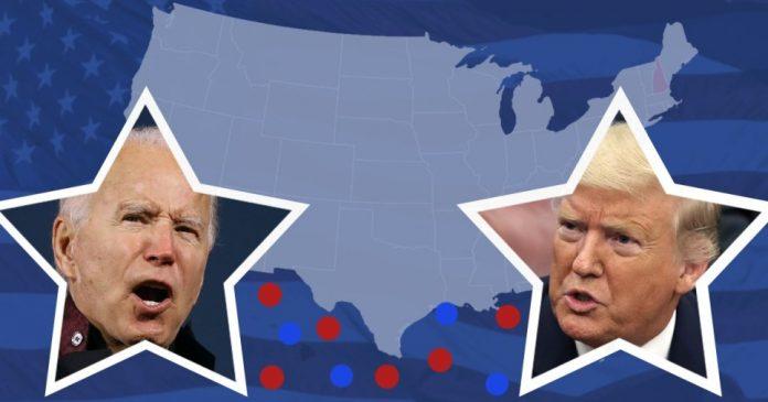 Election voting map explainer. Donald Trump and Joe Biden