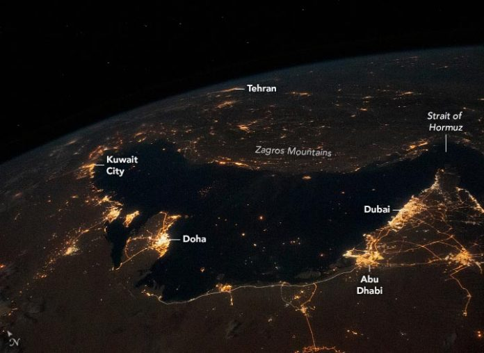 Persian Gulf at Night Annotated