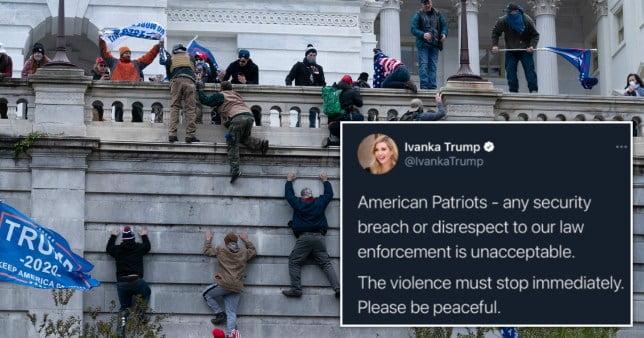 Capitol riots: Ivanka Trump deletes tweet telling 'American patriots' to resist violence