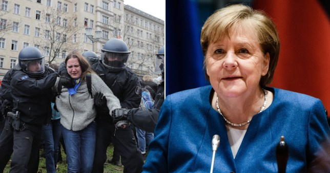 Angela Merkel. Also pictured is a woman being arrested by German police for breaking lockdown