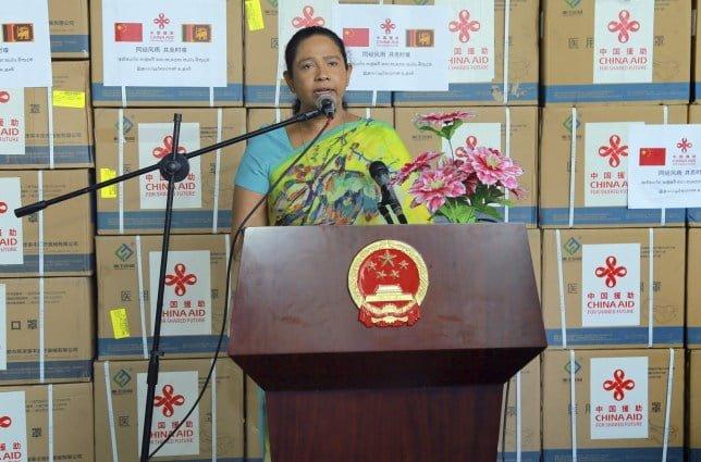 Sri Lanka's Minister of Health Pavithra Wanniarachchi speaks at a handover ceremony in Colombo, Sri Lanka, June 24, 2020.