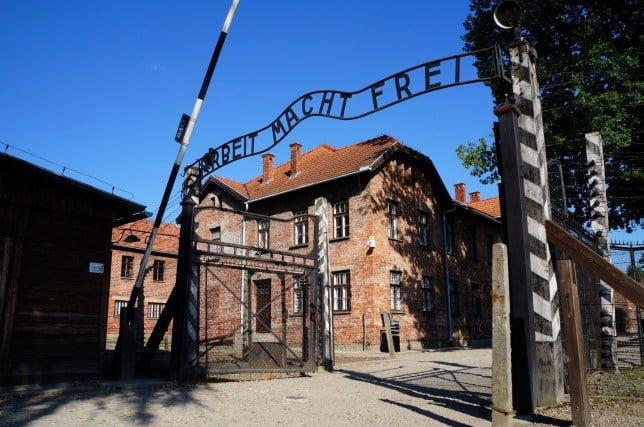 Gates to Auschwitz Birkenau Concentration Camp, a former Nazi extermination camp