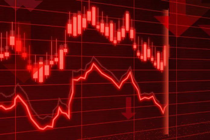 Financial Market Risk Drop Concept